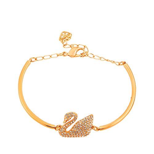 Imagen de swarovski brazalete swan, blanco, baño de oro rosa alternativa