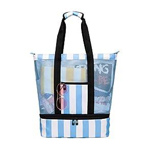 Strandtasche Groß mit Kühlfach Reißverschluss Sommer Tasche für Strand Urlaub Reise Picknick Shopper von Bertasche