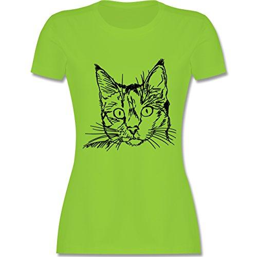 Katzen - Katze - tailliertes Premium T-Shirt mit Rundhalsausschnitt für Damen Hellgrün