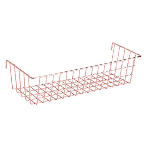 Nugoo oro rosa da appendere per filo da parete griglia pannello, cesto decorativo a parete con display multifunzione, dimensioni 37,1x 13x 9,9cm