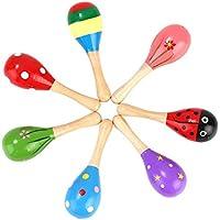 unicoco Mini Maracas huevo Handbell arena martillo bebé juguetes de madera sonajero maracas shakers musical educativo, niños TODDLER Learning Fun Musical juguetes, random, 12