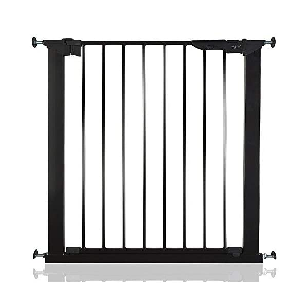 Safetots No Screw Stair Gate, 73.5cm to 79.6 cm, Black Safetots Gate fits a standard width: 73.5cm to 79.6cm Fits a maximum width with extensions: 119.3cm Indicator button - highlights when gate has been installed correctly or requires tightening 1