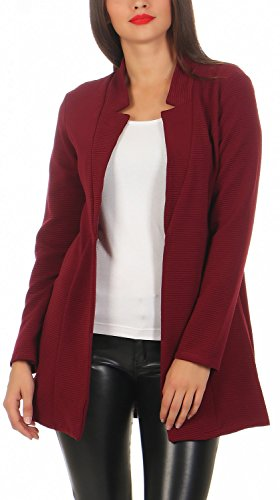 Damen lang Blazer mit Taschen ( 573 ), Farbe:Bordeaux, Blazer 1:40 / L (Blazer Lange Damen)