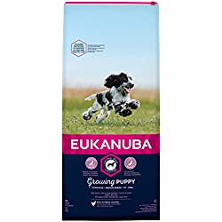 Eukanuba Puppy Nourriture pour Chiot de Taille Moyenne - Doublure sèche équilibrée avec Nouvelle Formule pour Chiots de 1 à 12 Mois dans Le Sens du goût.
