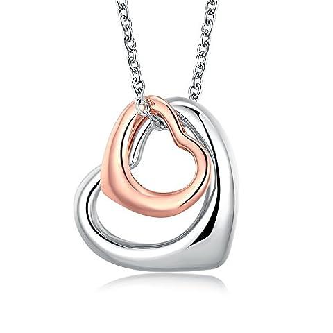 Fjyouria Or rose/platine Charm double cœur ouvert Pendentif Colliers Eternal A Lifetime Loving You Collier cœurs entrelacés pour femme Filles ado