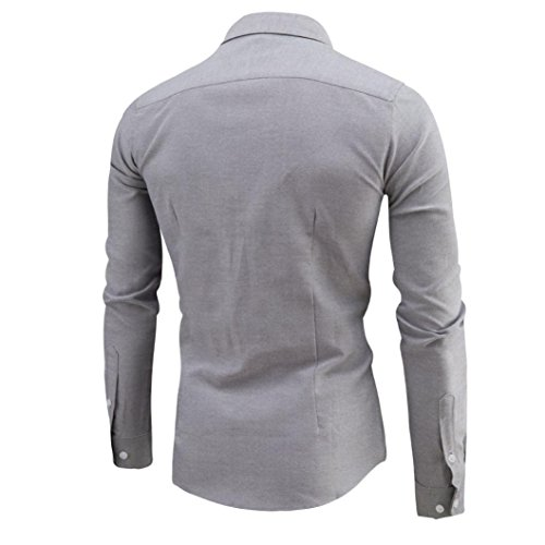 Herren Hemd Longra Männer Business Slim Shirt Langarm Casual Shirt Gray