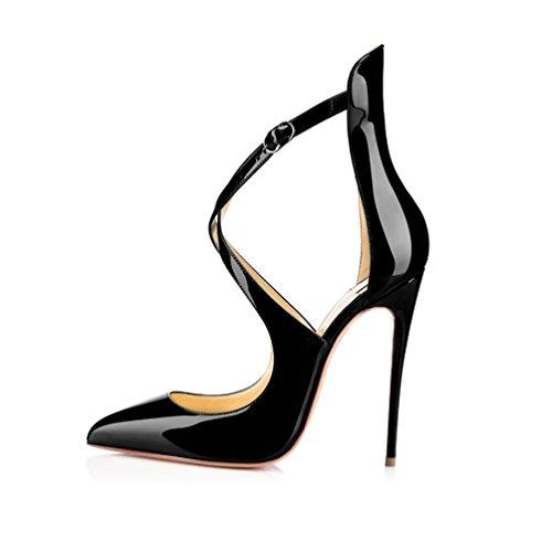 EDEFS Femmes Chaussures à Bout Pointu Cross Bride De Cheville Escarpins de mariee mariage Noir