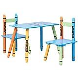 COSTWAY 3 tlg. Kindersitzgruppe Kindermöbel Kindertisch mit 2 Stühlen Holz Maltisch buntstift