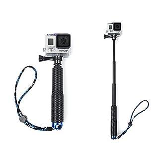 Ainstsk Universal Stretchable Selfie Stick Monopod Pole Clip Holder Set Portable Waterproof Aluminum Alloy Extendable Hand Held Selfie Stick For Sports Camera GOPRO Hero 3/3+/4(Blue)