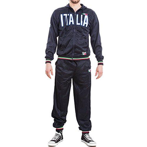 Toocool - Tuta uomo sportiva ITALIA completo giacca pantaloni jogging sport nuova BS2105 Nero