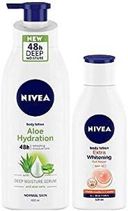 NIVEA Aloe Hydration Body Lotion, 400ml and NIVEA Extra Whitening Body Lotion, 120ml