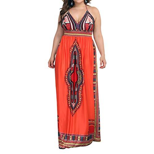 TIFIY Damen Großformat Kleid Mode Sexy Plus Size Camis Print Bandage V-Ausschnitt rückenfreies Strandkleid Lose Bequem Täglich Freizeit Kleiden(Orange,L)