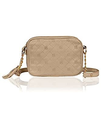 Kleio Faux Leather Double Compartment Cross Body Sling Bag For Girls / Women (Beige) (Edk1035Kl-Be)