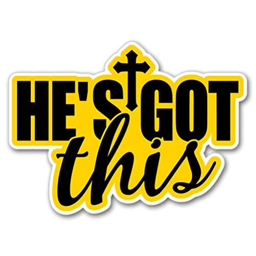 VINMEA AK Wall Art He's Got This Jesus Christian Faith Vinyl Sticker - Car Phone Helmet - 6-Inch