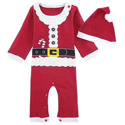 Mombebe Baby Weihnachten Kostüm Weihnachtsmann Strampler mit Hut -