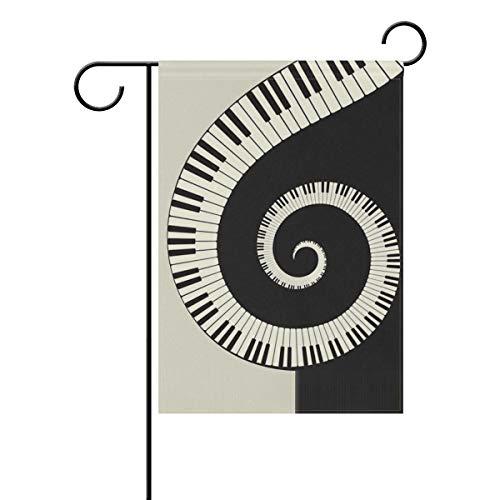 JIRT Bandera de jardín 12 x 18 Pulgadas (12 x 18 Pulgadas), Arte Musical Abstracto de Piano de Doble Cara de poliéster para decoración de jardín Interior y Exterior, Image 79, 12x18(in)