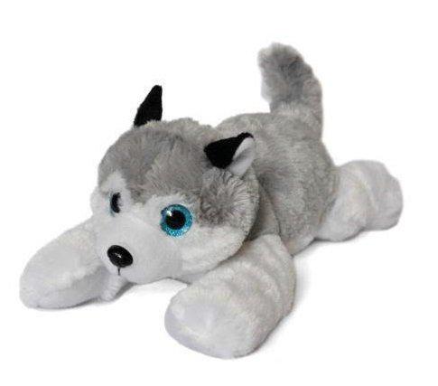 """Perro Husky de peluche blanco y gris con ojos brillantes 16""""/41cm Calidad super soft"""