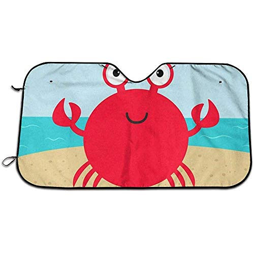 Crab Hello Summer Beach Sombrilla Parabrisas Coche