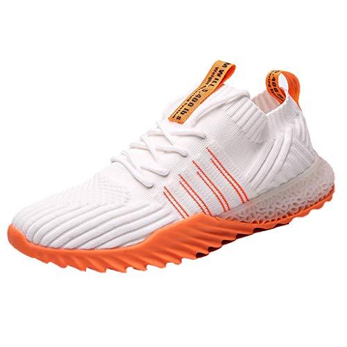 REALIKE Herren Damen Laufschuhe Orange Atmungsaktiv Sportschuhe Outdoor Turnschuhe Leichte Sneaker Air Cushion Luftkissen Sneakers Fitness Gym Leichtes Bequem Schuhe 39-44 EU (Männer Orange Aeropostale)