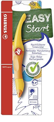 Ergonomischer Tintenroller - STABILO EASYoriginal in gelb/orange - Schreibfarbe blau (löschbar) - inklusive Patrone - für Rechtshänder