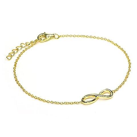 Bracelet Ajustable Symbole Infini en Argent Plaqué Or Jaune 18 Carats