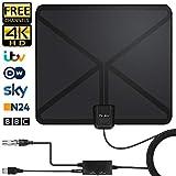 [2019 Dernier] Antenne TV Intérieure, Réception Gratuite 130 KM-Gamme avec Amplificateur Signal, 5 Mètres Longueur Câble...