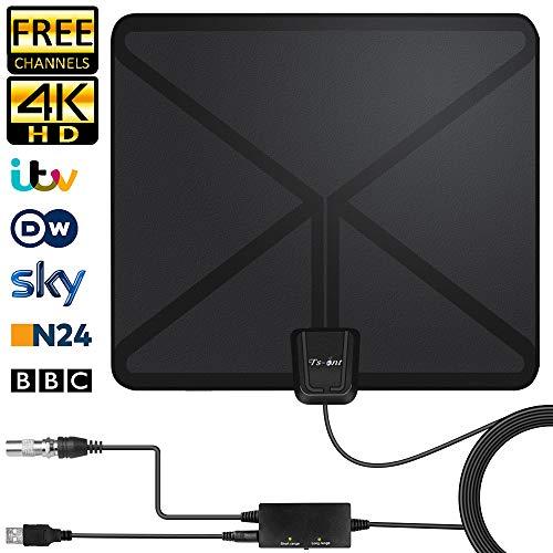 2019 Indoor-DVB-T-Antenne, HDTV Antenne,Digitale TV-Antenne 130KM Reichweite Smart Verstärker Signalverstärker, Geeignet für 1080P 4K Kostenlose TV-Kanäle, Verstärker mit 5M Langem Koaxialkabel