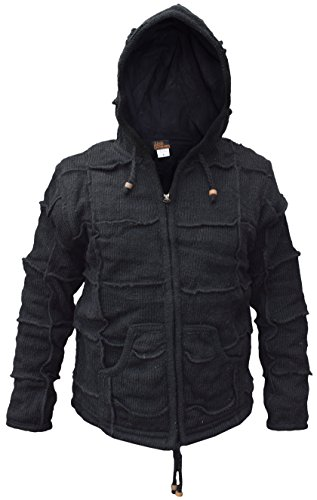 LITTLE KATHMANDU - Chaqueta - Manga Larga - para Hombre Negro Black Patch Medium