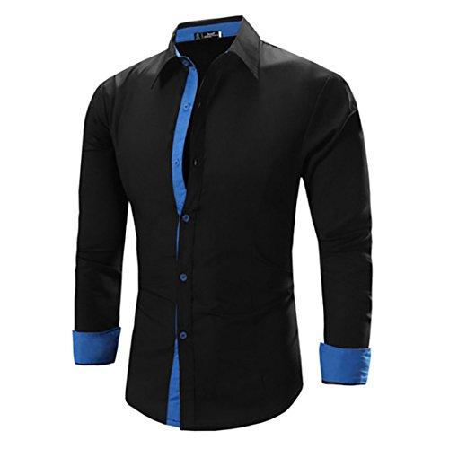 Men's Camisa Masculina Long Sleeve Slim Fit Casual Shirts Black Blue