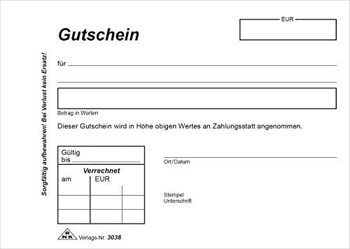 RNK 3038 - Gutschein zur Bestätigung eines Guthabens, Block mit 2 x 40 Blatt, selbstdurchschreibend, DIN A6 quer