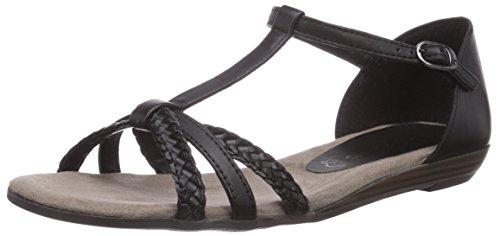 Tamaris 28137, Damen T-Spangen Sandalen mit Keilabsatz, Schwarz (Black 001), 36 EU (3.5 Damen UK)