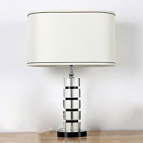 Oval Basis Lampe (TUNBG Moderne Schlafzimmer Tischleuchte mit Schwarz Crystal Base Oval Schatten)