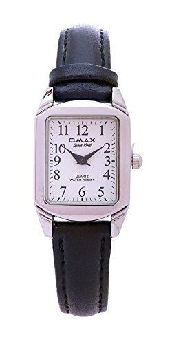Omax Damen Mode Silber vergoldet, weißes Zifferblatt schwarz PU Leder Armband Armbanduhr
