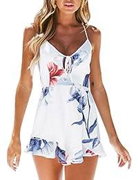 Las mujeres del verano Sexy impresión fuera del hombro mamelucos sin mangas  mono traje b64900c3266c