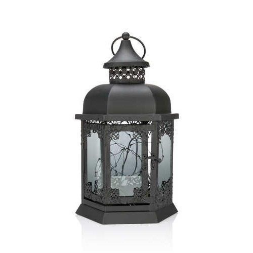 Laterne im Nostalgie look mit LED-Lichterkette und Timer - Outdoor geeignet, aus Metall (Schwarz)