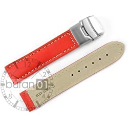 VK from Buran01.com Wrist watch band with Security deploying clasp Smooth Red White Seams Calf leather 18mm