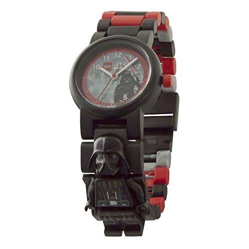 LEGO Star Wars 8021018 Darth Vader Kinder-Armbanduhr mit Minifigur und Gliederarmband zum Zusammenbauen | schwarz/rot| Kunststoff  | analoge Quarzuhr | Junge/ Mädchen | offiziell Junge Lego-uhr