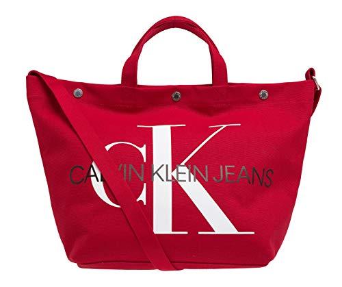 Calvin Klein Jeans Damen Shopper E/W BOTTOM TOTE MONOGRAM rot One Size -