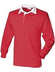 Front Row - Polo de rugby à manches longues 100% coton - Homme (2XL) (Rouge/Blanc)