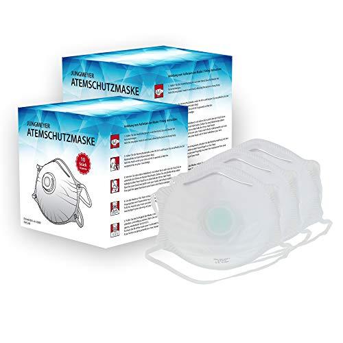20x Atemschutzmaske mit Ventil | Staubmaske Schutzklasse gemäß Norm FFP2 EN 149:2001+A1:2009 Sicherheitsschranken | Mundschutz - perfekt anpassbar (Privat- oder Gewerbegebrauch geeignet) von JUNGMEYER -