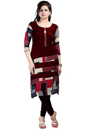 Clickedia Women's Cotton A-line Kurti (neerja maroon kurti_Maroon_Free Size)