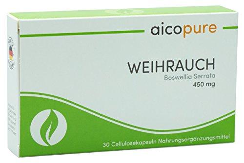 WEIHRAUCH 450 mg • Boswellia Serrata • Weihrauch Kapseln • vegan • 292,5 mg reine Boswellinsäuren • Made in Germany (30 Kapseln)