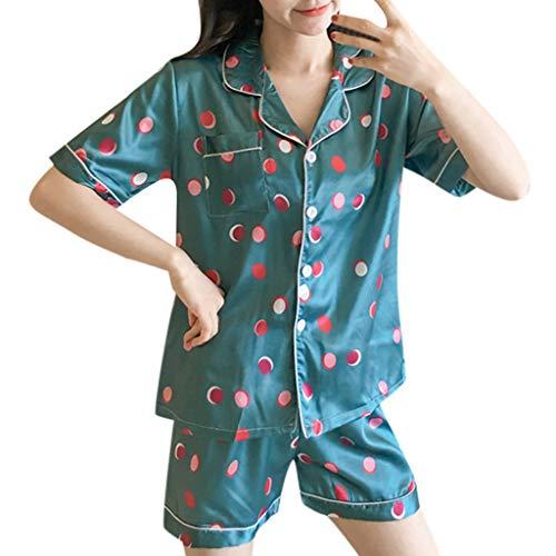 en Frauen 2 Stücke Sommer Pyjamas Kurzarm Shorts Pyjamas Lose Nachtwäsche Homewear Damen Hauspyjama Zweiteilig R-3 (Grün,XL) ()
