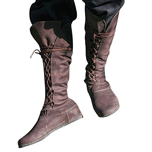 lalterliche Stiefel Cosplay Schuhe Lace up Spitz Kunstleder Kostüm Plain Forest Flache ()
