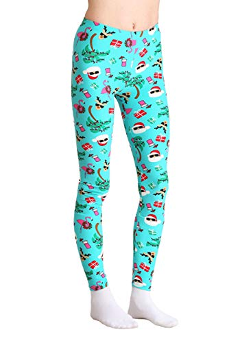 0c67d389156831 Just One Wholesale Ugly Christmas Tropical Santa Print Teal Leggings Large