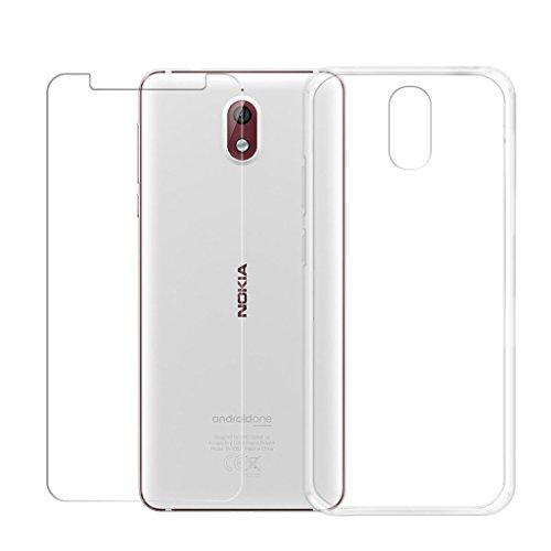 LJSM Nokia 3.1 Hülle Transparent + Panzerglas Bildschirmschutzfolie Schutzfolie - Weich Silikon Schutzhülle Crystal Flexibel TPU Tasche Case für Nokia 3.1 2018 (5.2