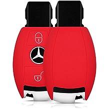 kwmobile Carcasa de silicona para Mercedes Benz llave del coche cubierta de protección, con 2botones Funda para llaves cover en color deseado rojo .red