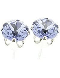 pewterhooter 925 Sterling Silver stud earrings made with sparkling Provence Lavender crystal from SWAROVSKI® London box