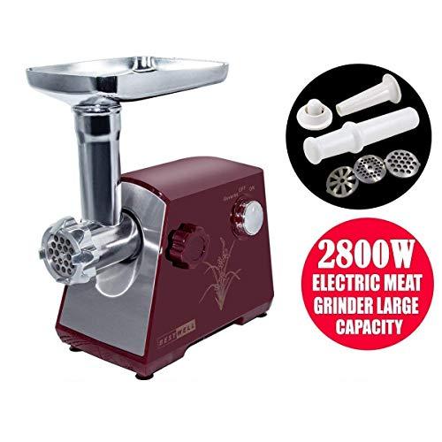 QITAO® 2800W molinillo eléctrico de carne y trabajo hogar salchicha carnes picadora de alimentos molienda máquina de minería potente motor de cobre (RED)