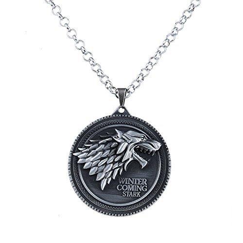 Lureme Inspiriert durch Spiel der Throne Lied von Eis und Feuer Jahrgang Stark Dire Wolf Anhänger Halskette-Antique Silber (nl005380-1)